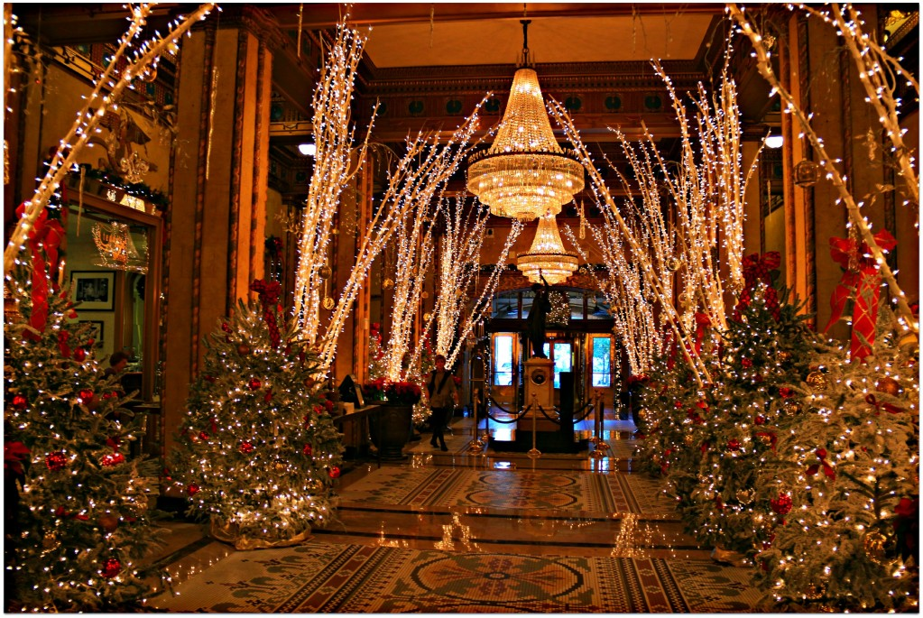 The Roosevelt's Lobby Corridor. Yes, it's Christmas.