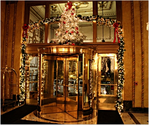 "Front Door to the Roosevelt Hotel is screaming ""Christmas!"" at you"