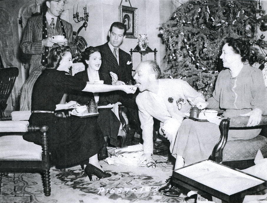 Barbara Stanwyck, director Mitchell Leisen, Beulah Bondi, Fred MacMurray, and Sterling Holloway enjoy a tea break on the set of REMEMBER THE NIGHT