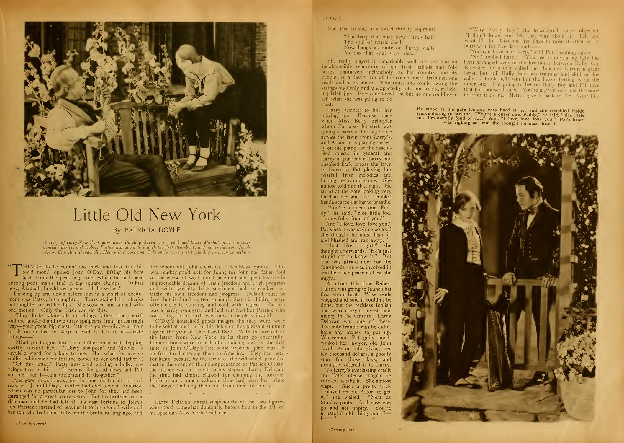 Novelization of the 1923 Marion Davies film LITTLE OLD NEW YORK, published in Motion Picture Classic Magazine, June 1923.