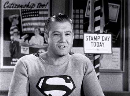 "George Reeves' Superman pushes for U.S. Savings Bonds in ""Stamp Day for Superman""."